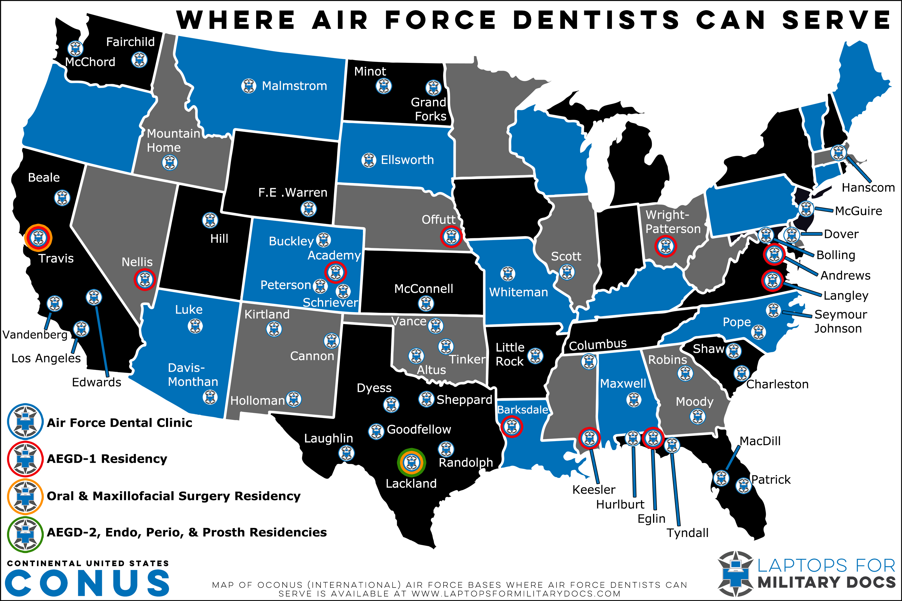 Map of Air Force Dental Bases Inside the Continental United States