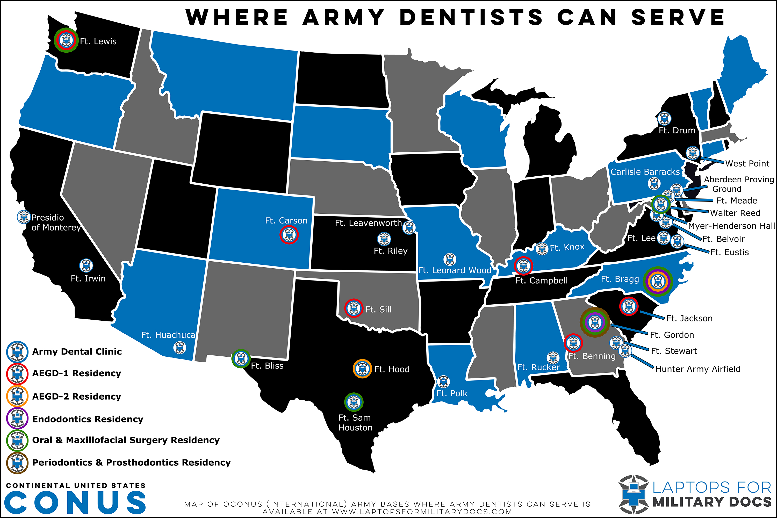 Map of Army Dental Bases Inside the Continental United States