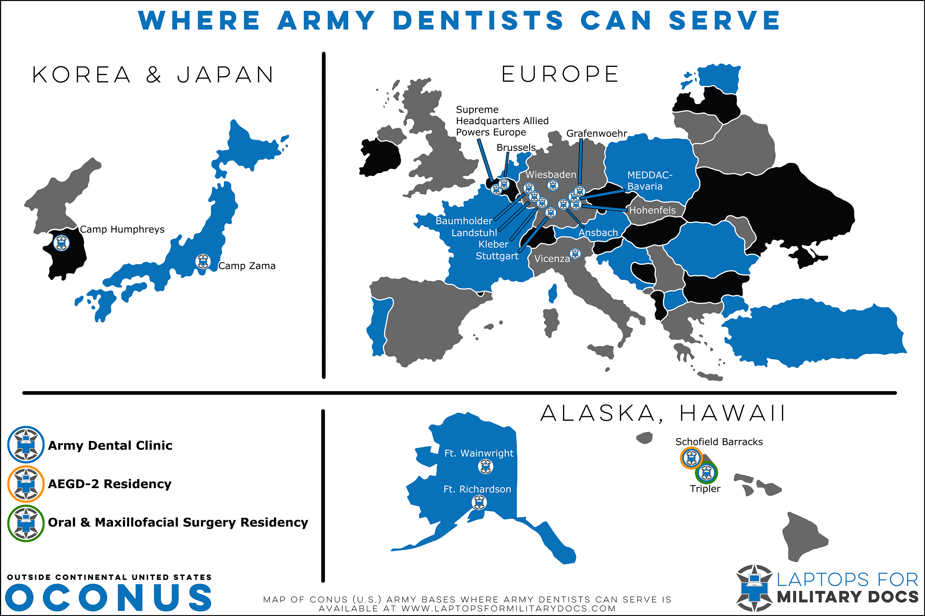 Map of Army Dental Bases Outside the Continental United States