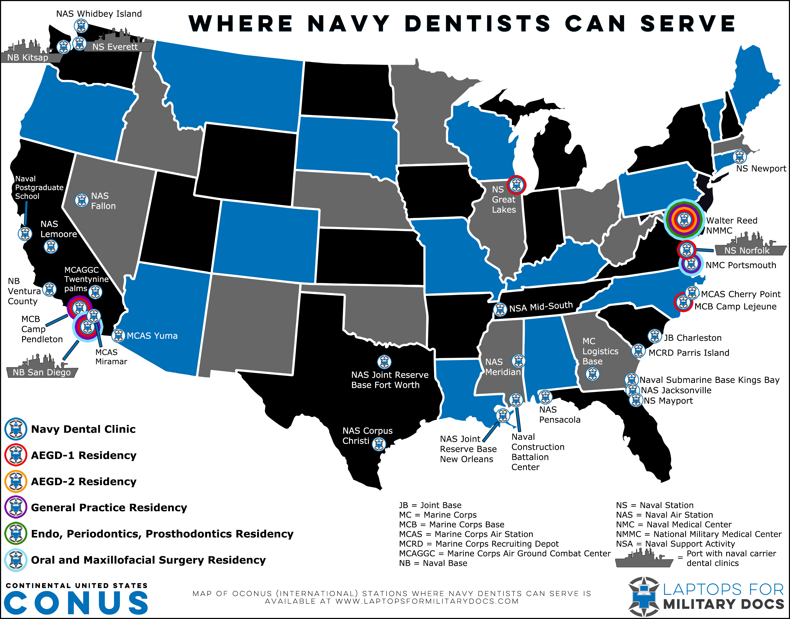 Map of Military Bases With Navy Dentists Inside the Continental United States