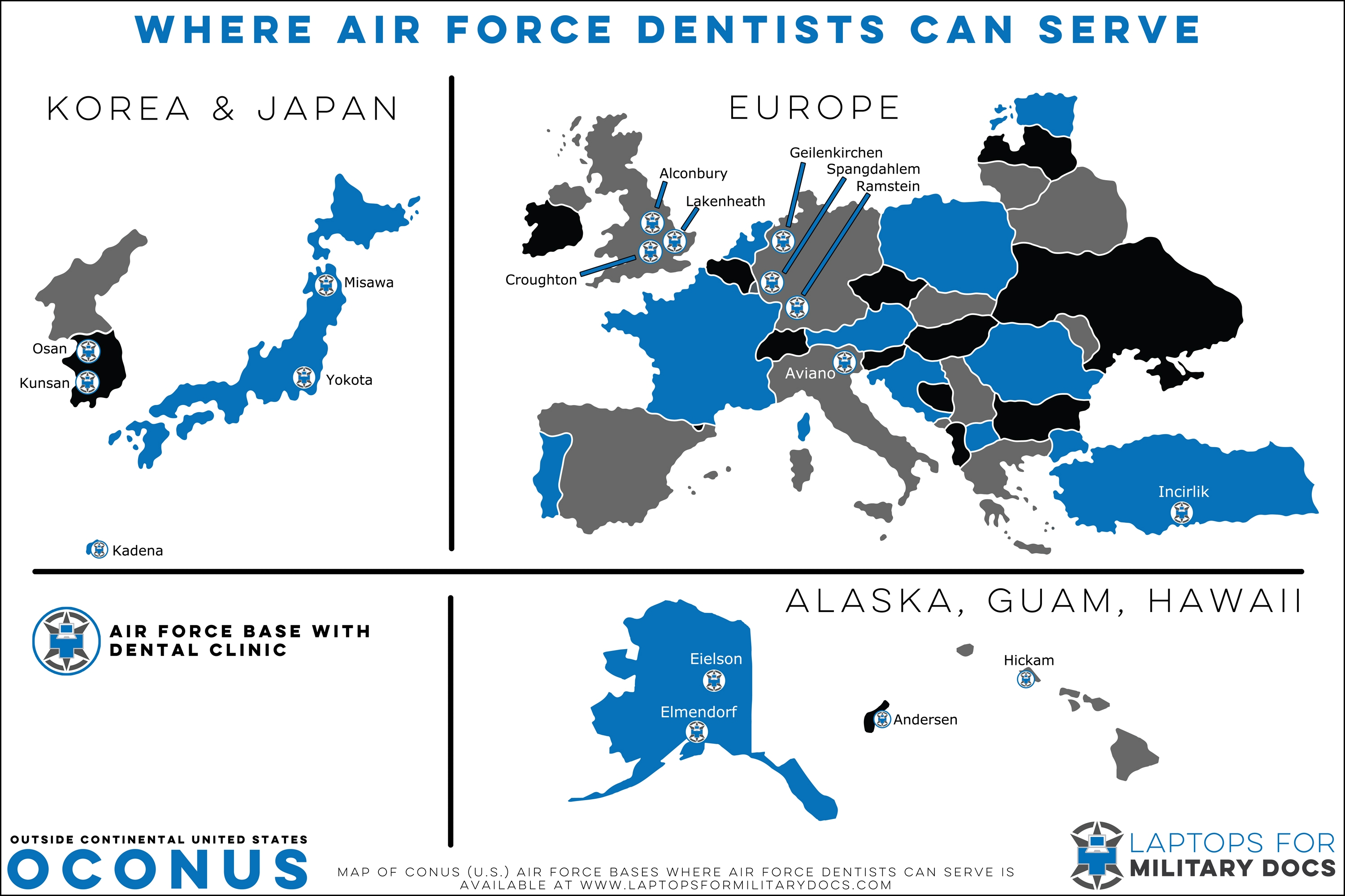 Map of Air Force Dental Bases Outside the Continental United States