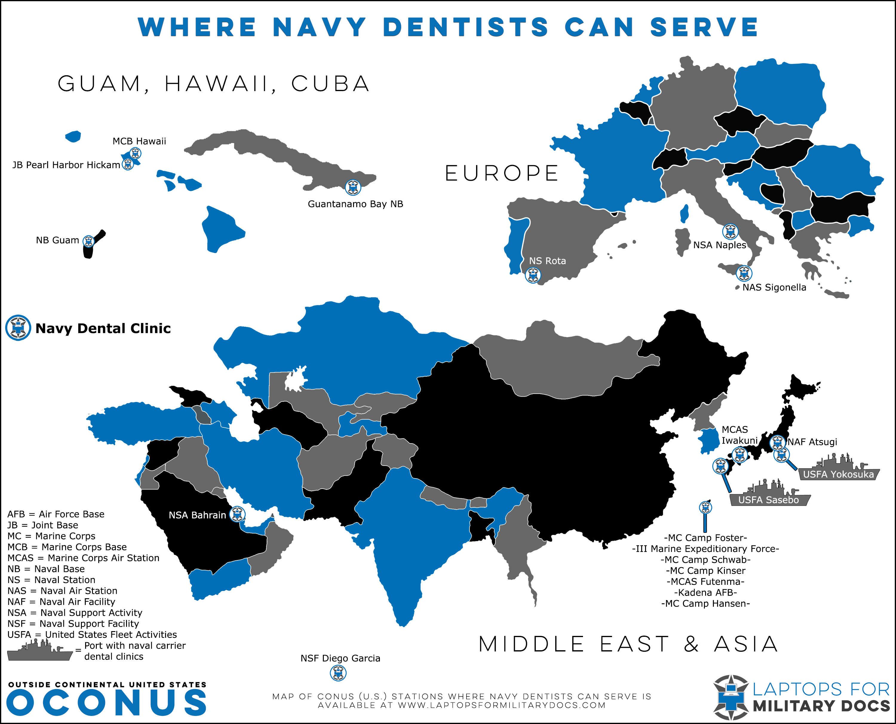 Map of Military Bases With Navy Dentists Outside the Continental United States